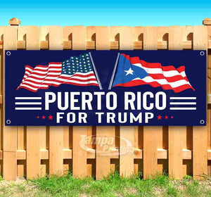 For Trump With Flag Puerto Rico Banner