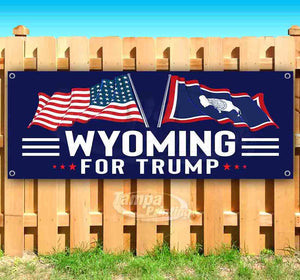 For Trump With Flag Wyoming Banner