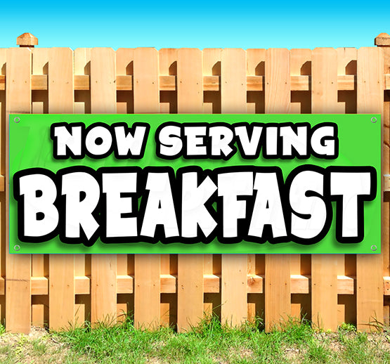 Now Serving Breakfast Banner