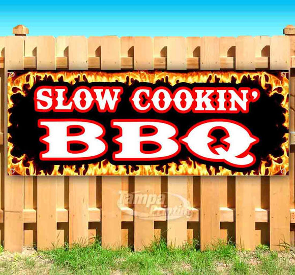 Slow Cookin' BBQ Flame Border Banner