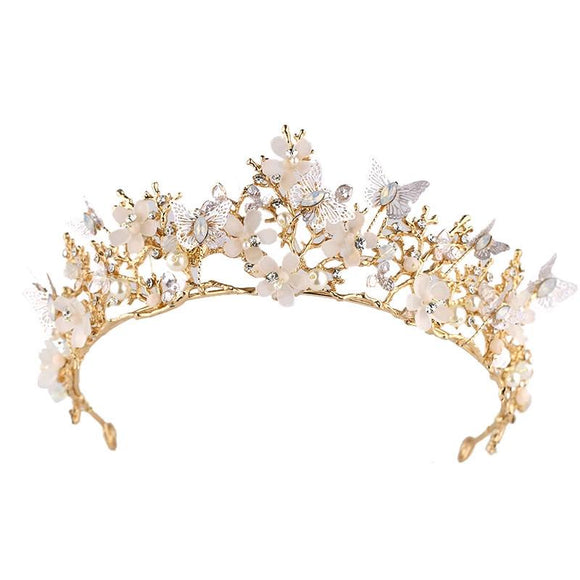 Girls Hair Accessories Crown Sequin Bow Gold Headband Headdress