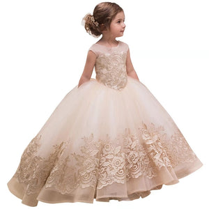Fancy Little Girls Party Dress with Bow Champagne Girls Dress Elegant Kids Dresses for Girls