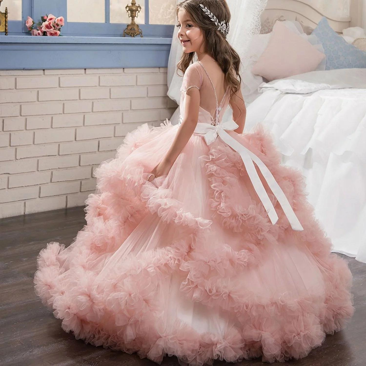 Fancy Puffy Pink Pageant Dresses for Girls Long Kids Ball Gowns