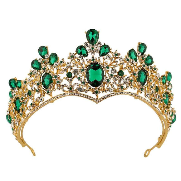 Crystal Crown Tiaras Headwear For Girls Kids Tiara Headpieces Green