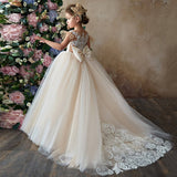 Royal Princess Sheer Back Champagne Lace Wedding Flower Girl Dresses First Communion Gown With Long Train Bow