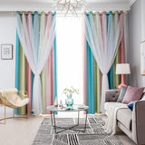 Blackout Curtains Gradient Rainbow Color Hollow Star Double Layer Curtains Kids Girl White Sheer Window Curtains For Bedroom Living Room