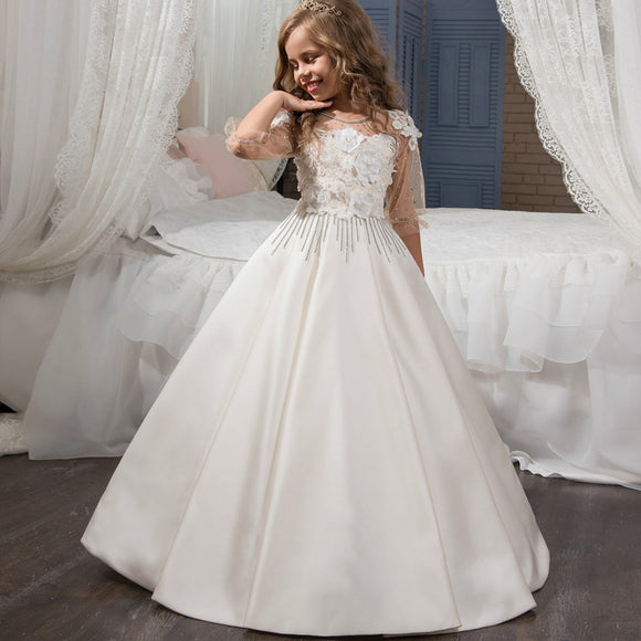 Gorgeous Beading Floral First Communion Dress Girls Tulle Kids Ball Gowns Ruffles Floor Length Girls Pageant Dresses 2-12