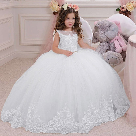Lace Appliques Kids First Communion Gowns Sheer Crew Neckline Beaded Girls Tulle Puffy Ball Gown for Wedding