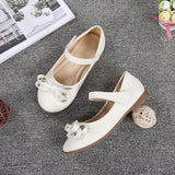Girls Leather Shoes For Party Children Shoes Girls Wedding Princess Dance Bow Tie Children's Footwear for Kids