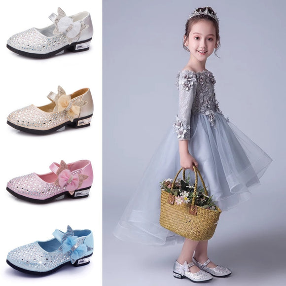 Princess Shoes Bow Children's Leather Shoes Gold/Silver/Pink Hook&Loop Shoes for Kids Girls Rhinestone Party Shoes