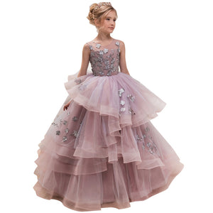 Girls Organza O-neck Sleeveless Flowers  Ball Gowns Elegant Girls Princess Birthday Party Dress