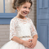 Adorable Girls Pageant Half Sleeves Dresses Satin Voile Appliques Crew Neck Baby Pink Elegant Ball Gown Evening Party Dress