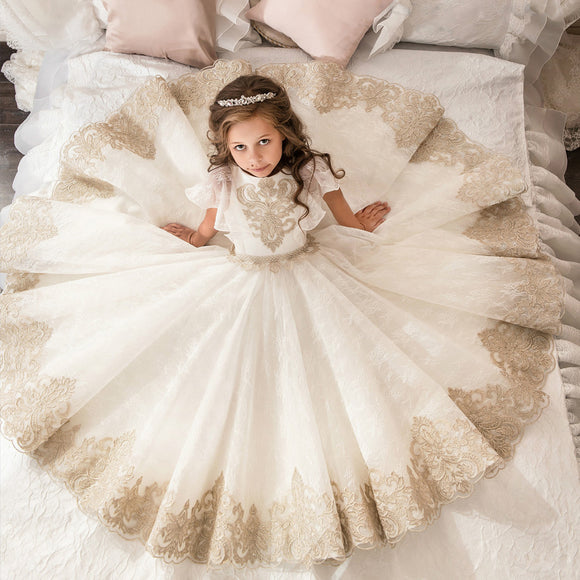Fancy Flower Girl Dress Gold Appliques Formal Christmas Ball Gowns Solid Pearl Zipper Pageant Dresses for Girls