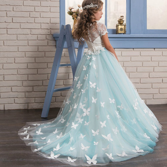 Blue Butterfly Girls Dresses with Sleeves Ball Gown Kids First Communion Dress Long Flower Girls Pageant Dress