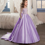Fancy Flower Girl Dresses Draped Long Sleeves Dress Pink Tulle Ball Gowns