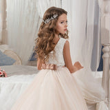 Fancy Champagne Flower Girl Dress Long Sequin Girls Dresses Tulle Ball Gowns Kids First Holy Communion Dresses For Christmas