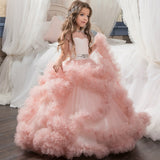Fancy Puffy Pink Pageant Dresses for Girls Long Kids Ball Gowns Tulle Flower Girl Dresses for Wedding