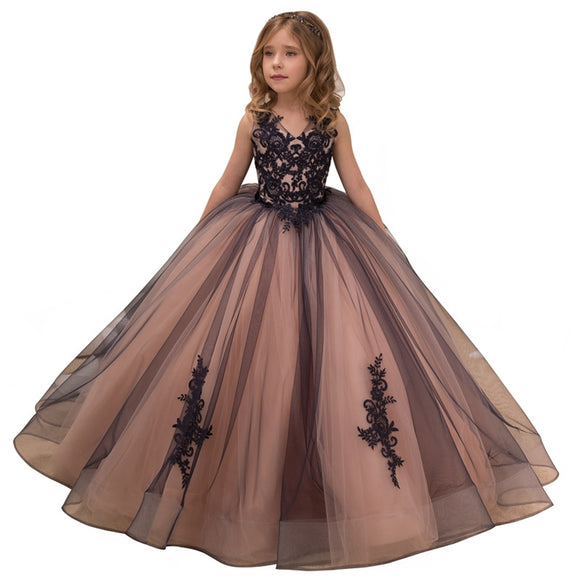 Fancy Little Girls Pageant Dresses Princess Party Dresses for Girls Mesh Flower Dress Long Kids Puffy Ball Gowns
