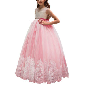 Pink Flower Girls Party Dresses Champagne Kids Ball Gowns Beaded Sash Purple Little Girls Dress
