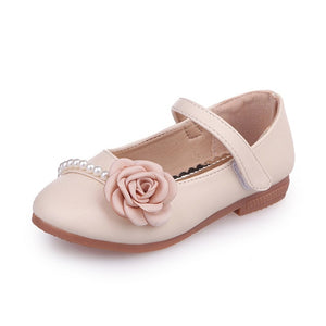 Girls Leather Shoes Princess Spring Autumn Pu Children's Peas Shoes Lightweight Soft Bottom Kids Shoes Beige Pink Blue