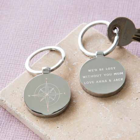 Personalised Engraved Mother's Day Compass Keyring