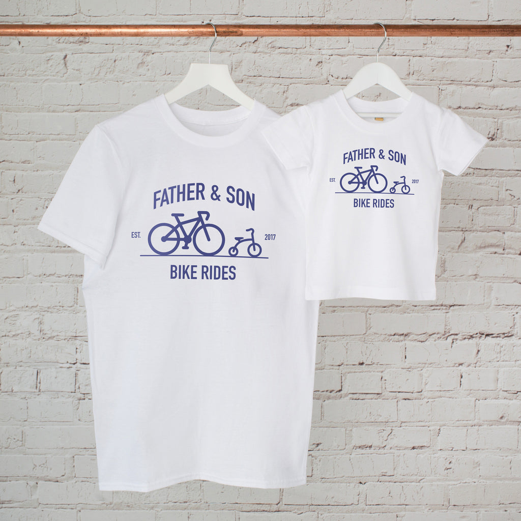Personalised Father And Son Bike Ride T Shirt Set