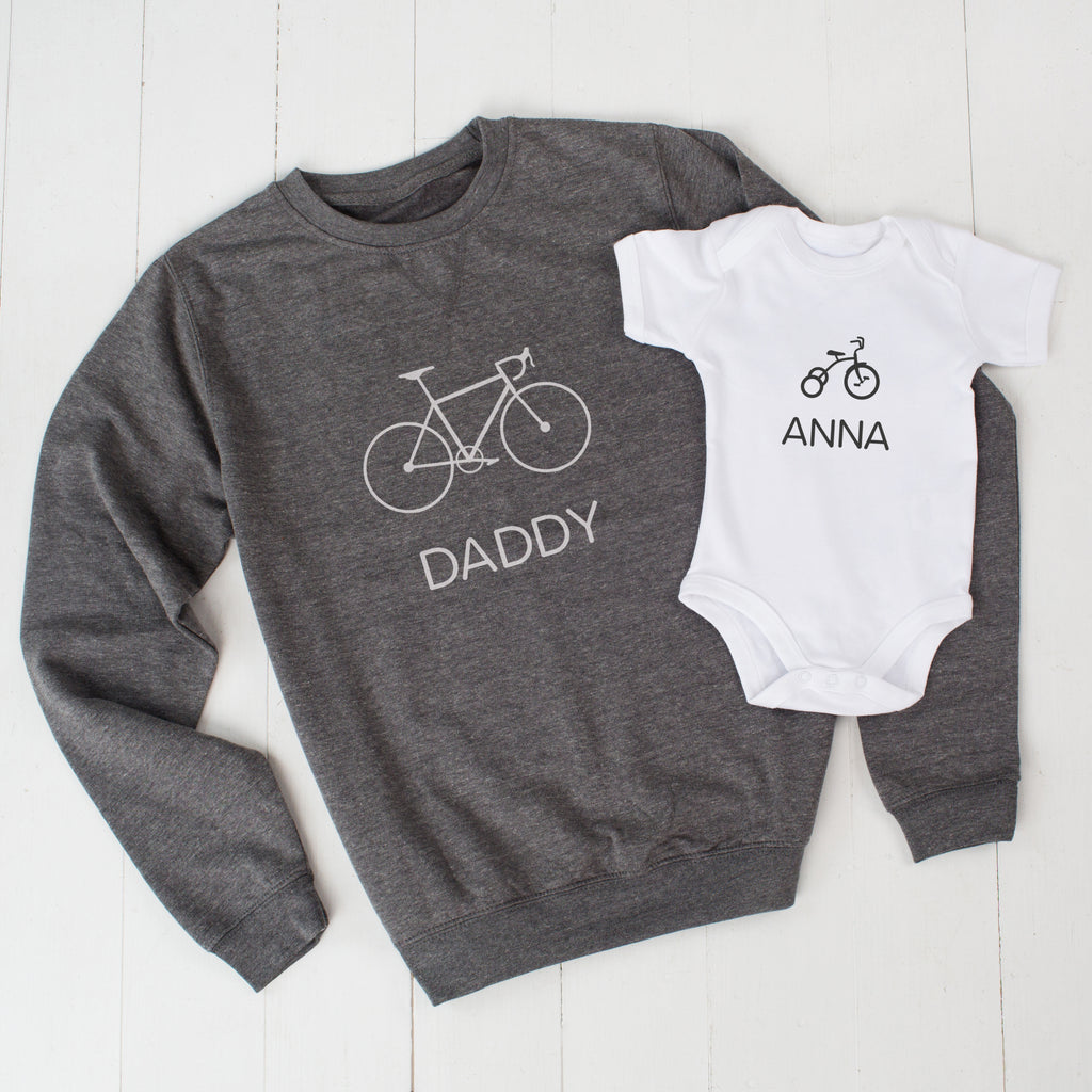 Grey Personalised Bike And Trike Daddy Jumper And Child Set