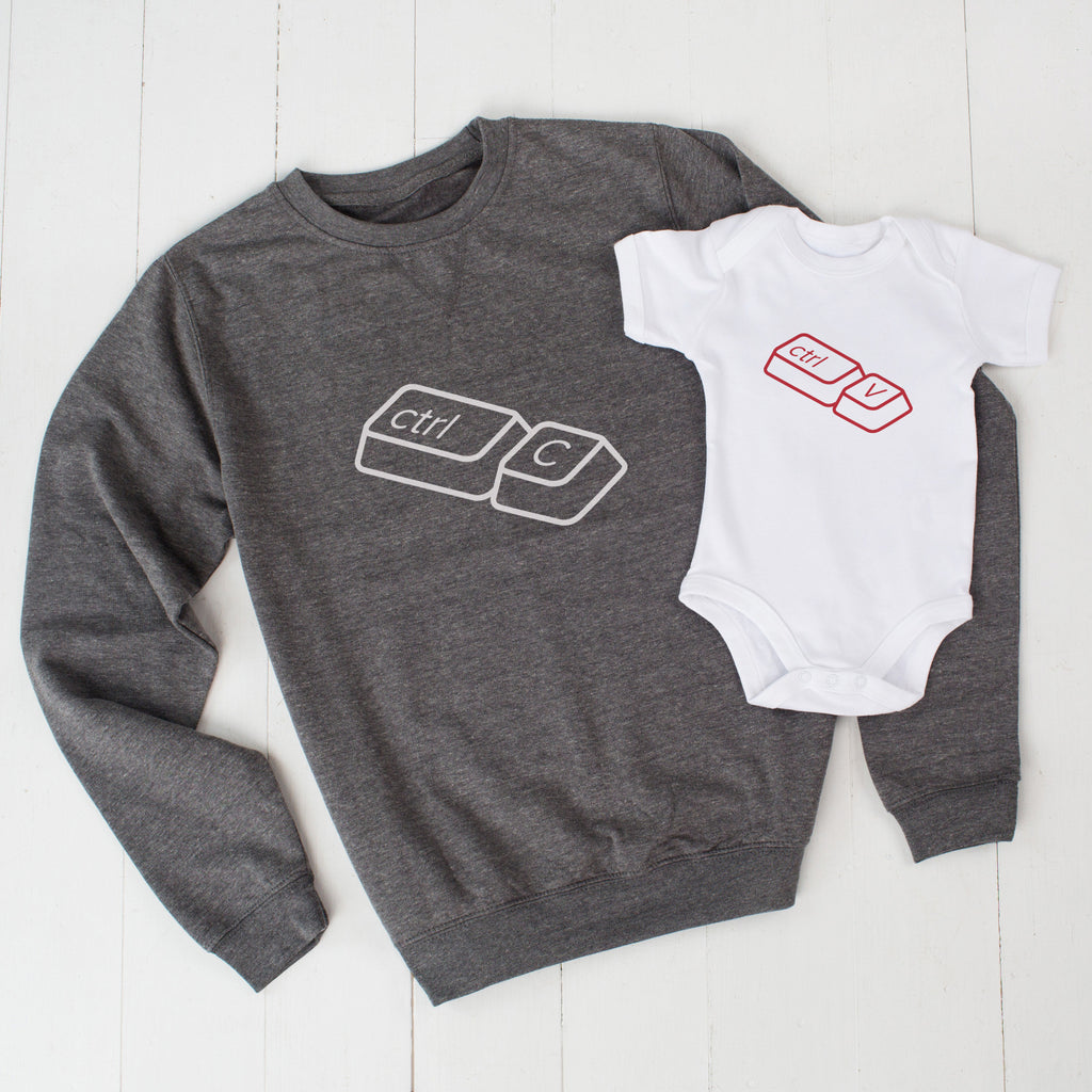 Grey Copy And Paste Father's Day Jumper Set