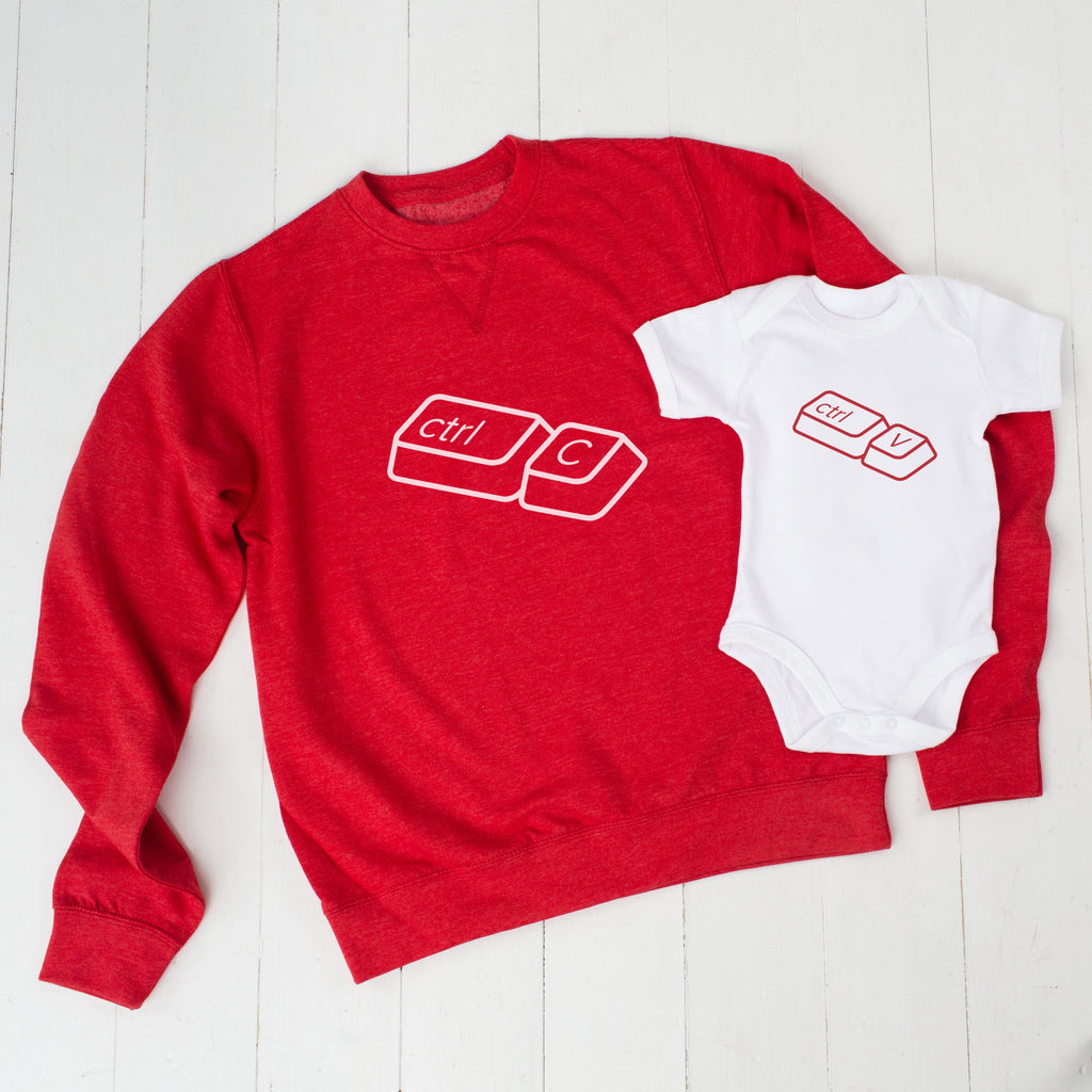 Red Copy And Paste Father's Day Jumper Set