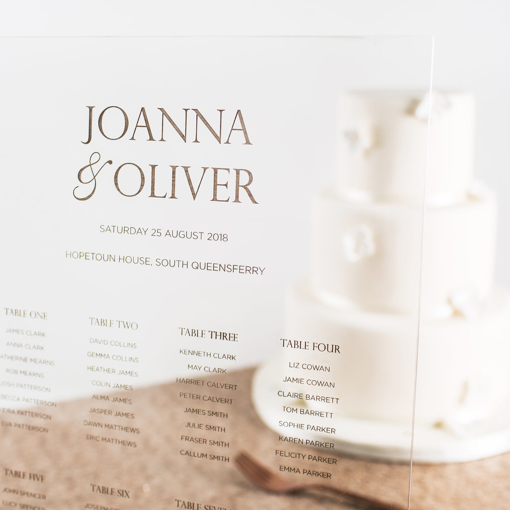 Personalised Acrylic Wedding Seating Plan