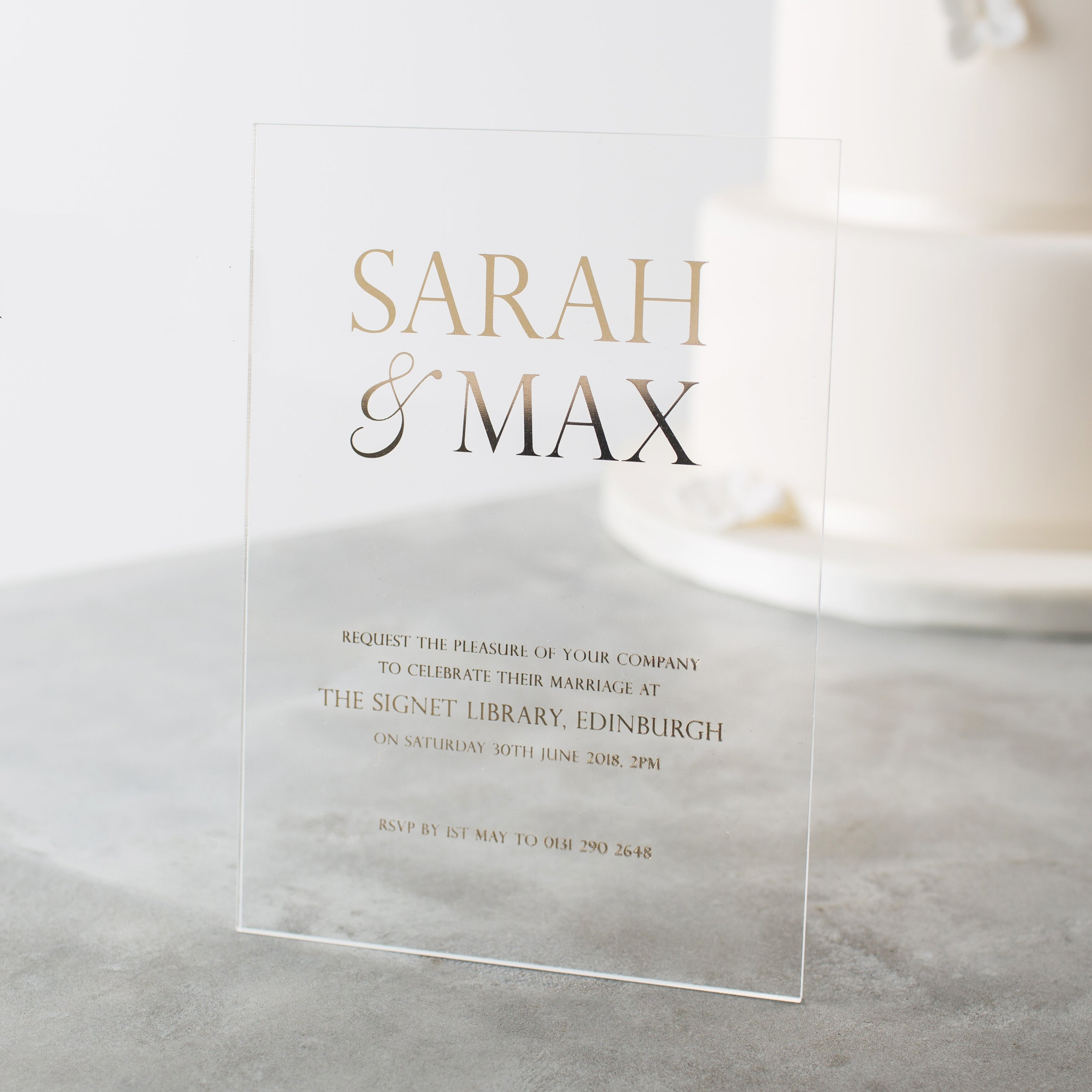 personalised acrylic foiled wedding invitations twenty seven