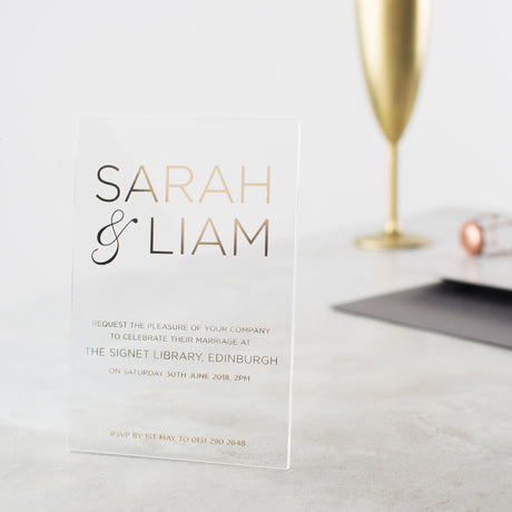 Personalised Acrylic Foiled Modern Invitations
