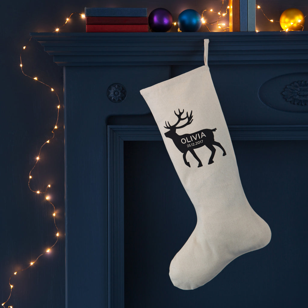 Personalised Reindeer Baby's First Christmas Stocking