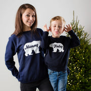 Personalised Polar Bear Twinning Christmas Jumper Set