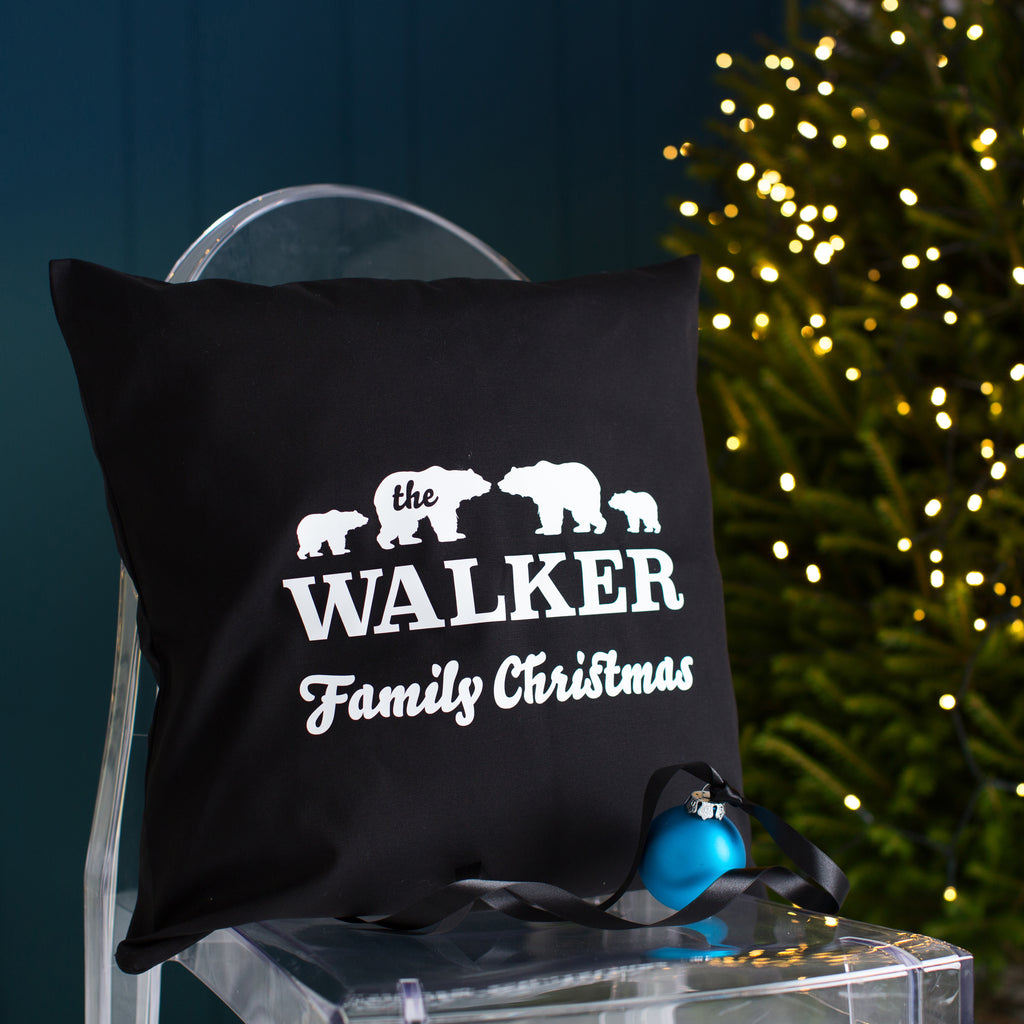 Personalised Polar Bear Family Christmas Cushion