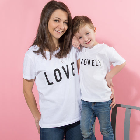 Personalised 'Lovely' Mother And Child T Shirt Set