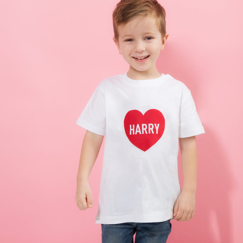 Personalised Childs Valentine's Day Heart T Shirt