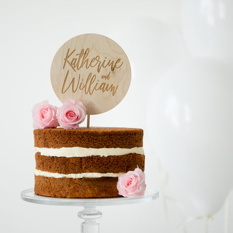Engraved Circular Couples Cake Topper