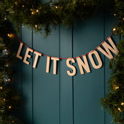 Festive Wooden 'Let It Snow' Christmas Bunting