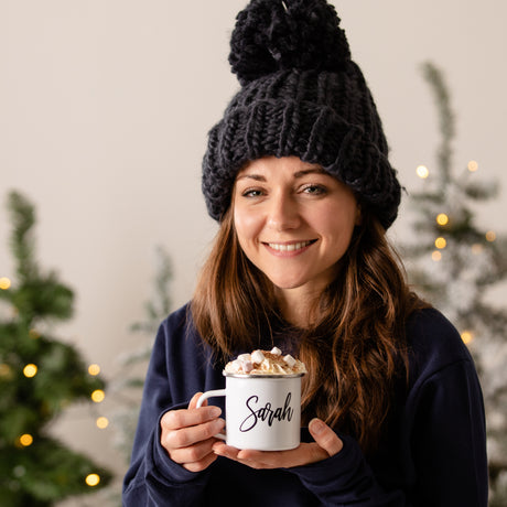 Personalised Winter Knitted Hat And Enamel Mug
