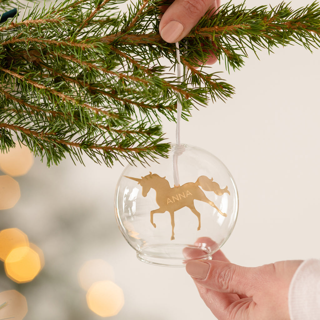 Personalised Unicorn Glass Dome Bauble
