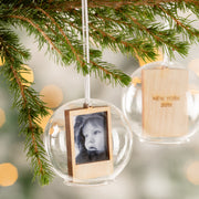 Personalised Wooden Destination Photo Glass Dome Bauble