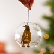 Personalised First Christmas Penguin Dome Bauble