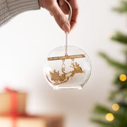 Personalised Christmas Family Sleigh Glass Dome Bauble