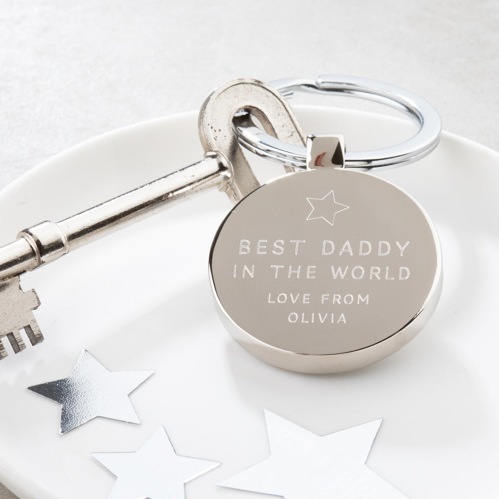 Personalised Best Daddy In The World Keyring