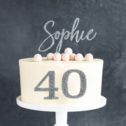 Personalised Classic Birthday Age Side On Cake Topper