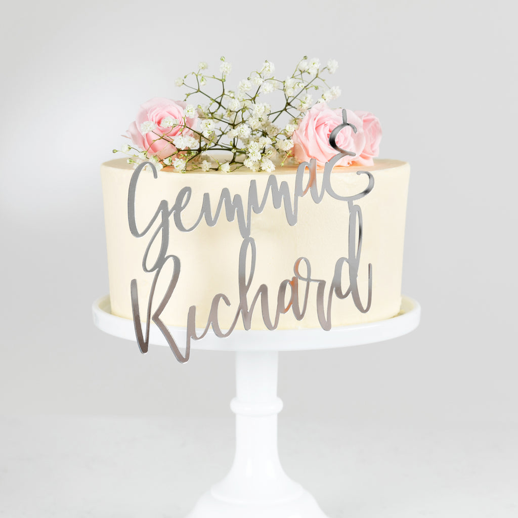 Personalised Classic Couples Side On Cake Topper