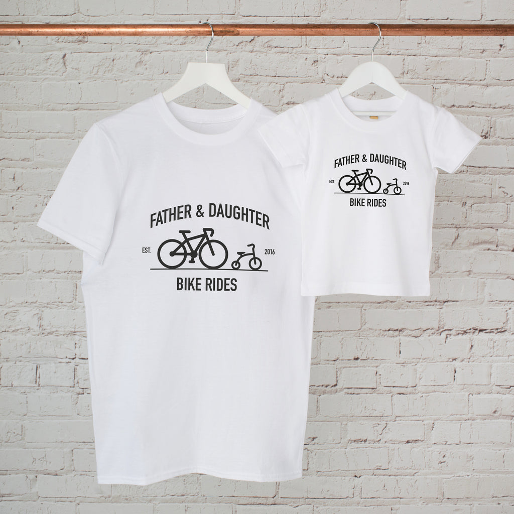 Personalised Father And Daughter Bike Ride T Shirt Set