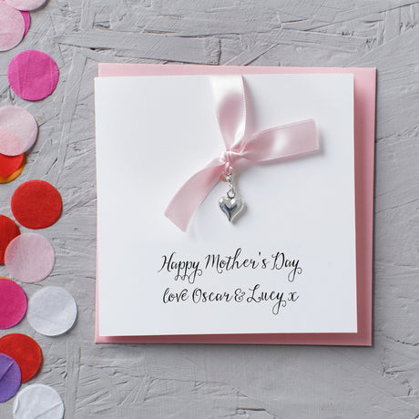 Personalised Silver Heart Charm Mother's Day Card