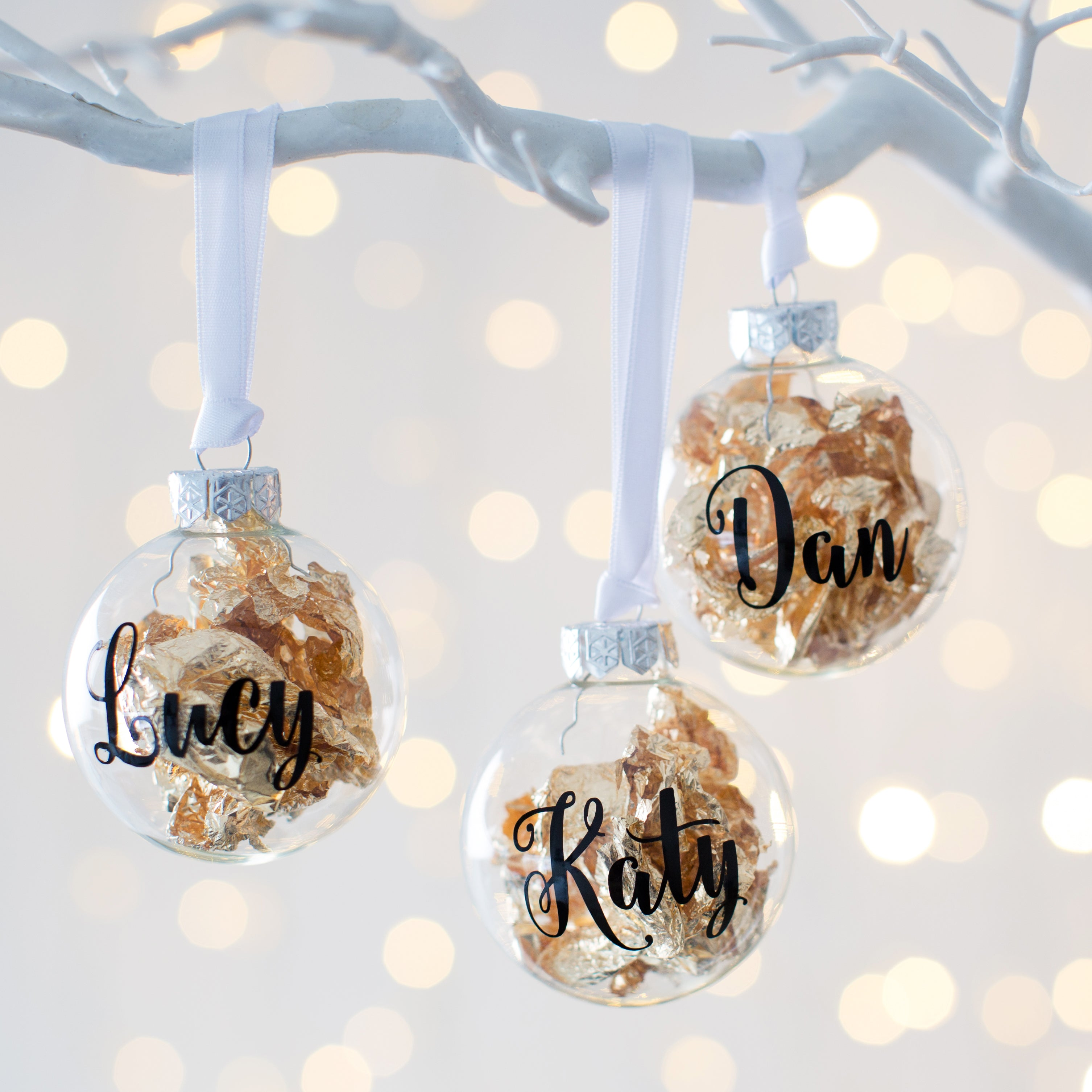 Christmas Leaf Name.Personalised Gold Leaf Christmas Bauble